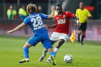 ALKMAAR - 04-10-2015, AZ - FC Twente, AFAS Stadion, 3-1, AZ speler Ridgeciano Haps (r), FC Twente speler Jeroen van der Lely.