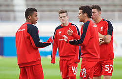 HELSINKI, FINLAND - Friday, July 31, 2015: Liverpool's Allan Rodrigues de Sousa and Pedro Chirivella warm-up before a friendly match against HJK Helsinki at the Olympic Stadium. (Pic by David Rawcliffe/Propaganda)