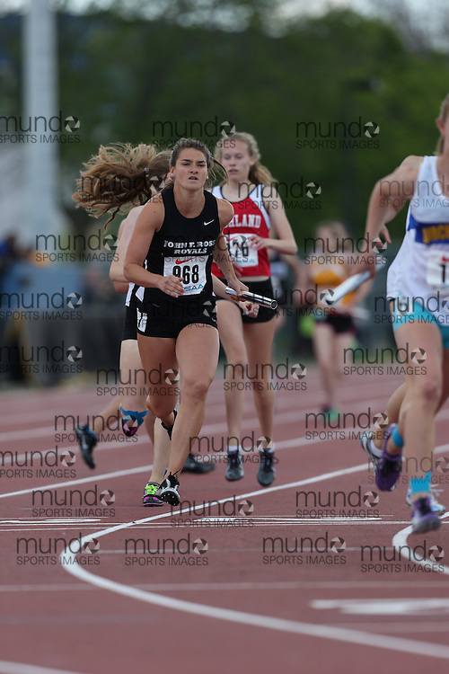 Alison Fraser of John F. Ross CVI - Guelph competes in the girls 4x400m final at the 2013 OFSAA Track and Field Championship in Oshawa Ontario, Thursday,  June 6, 2013.<br /> Mundo Sport Images / Sean Burges