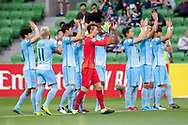 MELBOURNE, VIC - MARCH 05: Daegu FC cheers on fans prior to the start of the match during the AFC Champions League soccer match between Melbourne Victory and Daegu FC on March 05, 2019 at AAMI Park, VIC. (Photo by Speed Media/Icon Sportswire)