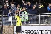 Harrogate Town fans celebrate after Harrogate Town midfielder Michael Woods (21) scores during the Vanarama National League match between FC Halifax Town and Dover Athletic at the Shay, Halifax, United Kingdom on 17 November 2018.