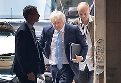 © Licensed to London News Pictures. 09/09/2019. London, UK. Prime Minister Boris Johnson arrives at Parliament with his special advisor Dominic Cummings (R). The government have announced that Parliament will be prorogued at the end of business today. Photo credit: Peter Macdiarmid/LNP