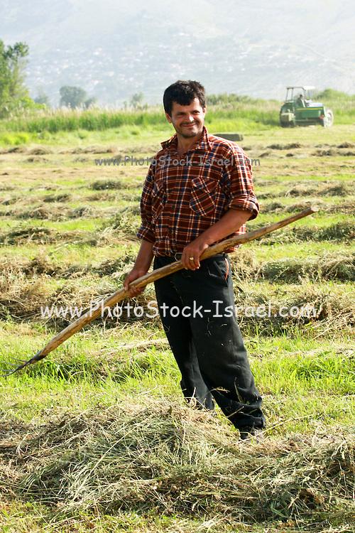 Albania Labova a man toiling his land