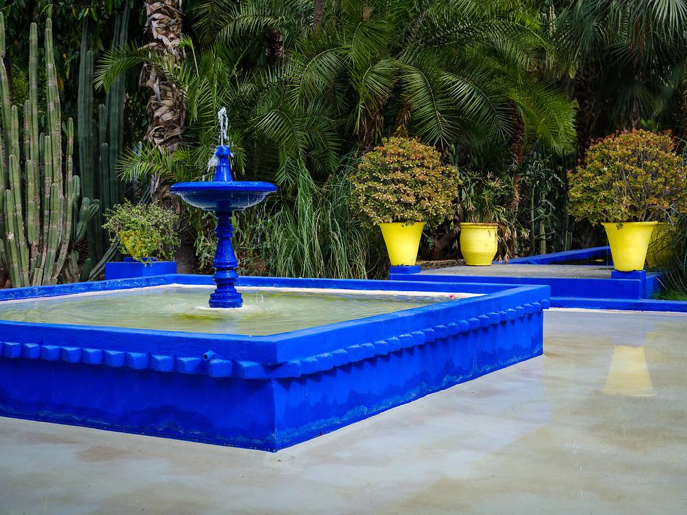 MARRAKESH, MOROCCO - CIRCA APRIL 2017: Water fountain at the Jardin Majorelle in Marrakech