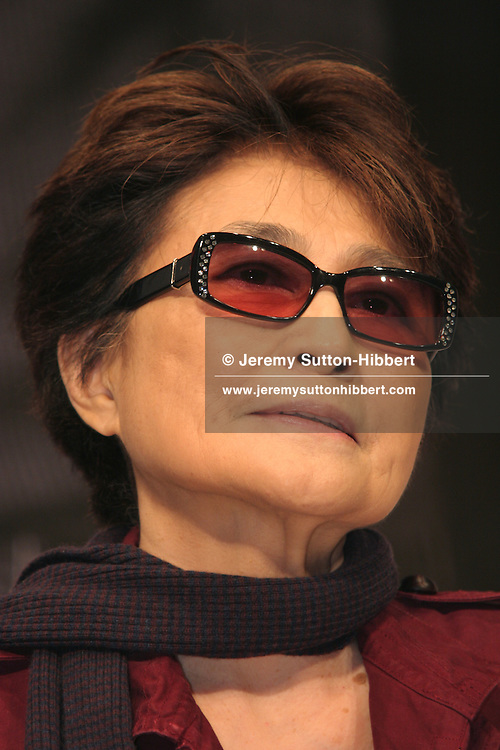 Yoko Ono appears at a press conference to publicise a forthcoming ' Dream Power John Lennon Super Live' concert, in Tokyo, Japan, Thursday, Nov. 2, 2006. Ono was publicising the Saturday, Nov. 4, 2006 Lennon concert,  at Tokyo Budokan hall, and which will feature Naoki and Kumi who are Japanese group 'Love Pyschedelico',  and popstar Kazuyoshi Saito. The money raised from the proceeds of the concert will go to help finance schools for children in the developing countries of Asia and Africa.