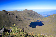 Lake Chirripo seen from summit of Mount Chirripo, Costa Ricas highest mountain  3820m. Chirripo National Park, Costa Rica.<br />