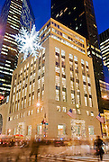 New York City. The Tiffany store on Fifth Avenue at 57th Street decorated for Christmas Season.