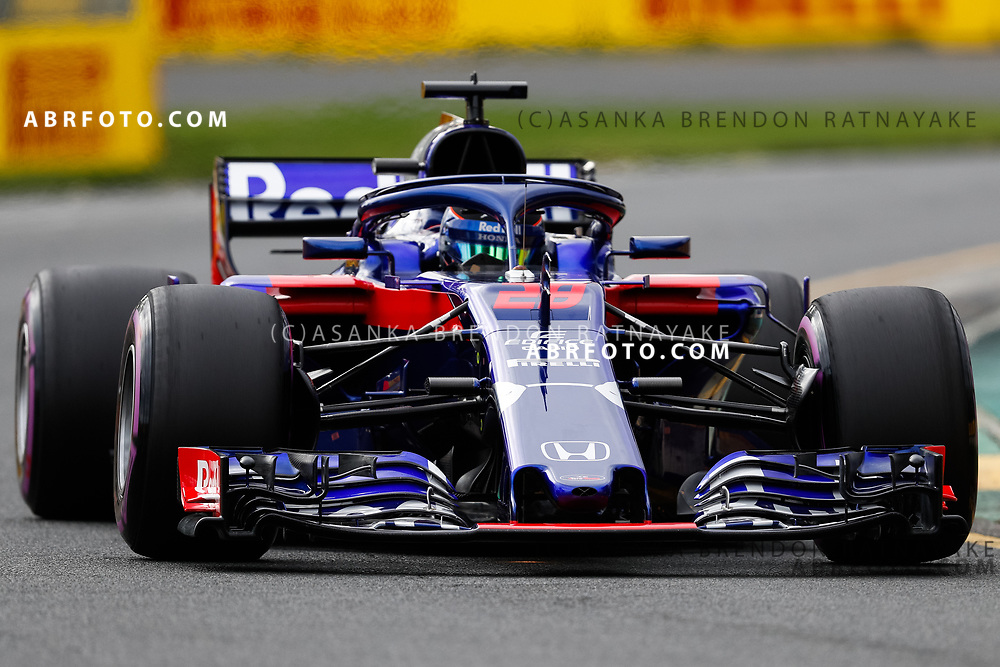 Toro Rosso driver Brendon Hartley of New Zealand on Saturday during Qualifying for the 2018 Rolex Formula 1 Australian Grand Prix at Albert Park, Melbourne, Australia, March 24, 2018.  Asanka Brendon Ratnayake
