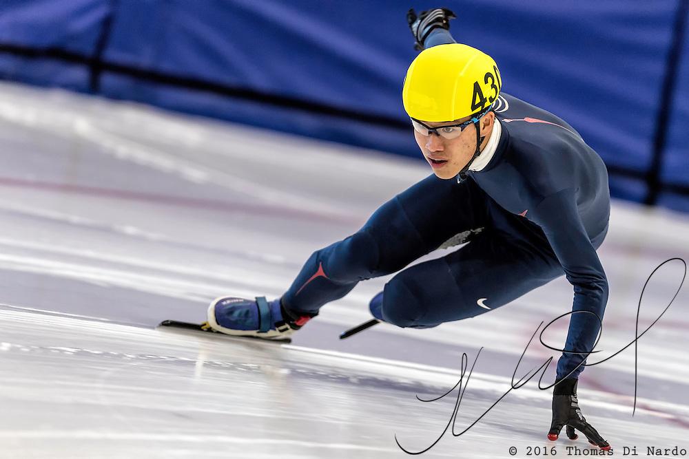 December 17, 2016 - Kearns, UT - Chiyuan Zhong skates during US Speedskating Short Track Junior Nationals and Winter Challenge Short Track Speed Skating competition at the Utah Olympic Oval.