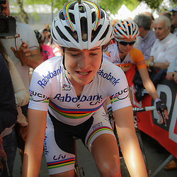 CYCLING, Huy (Belgium): The fourth race in de UCI womens worldcup Fleche Walonne. Marianne Vos was glad that she did here work and that she was in the winning team