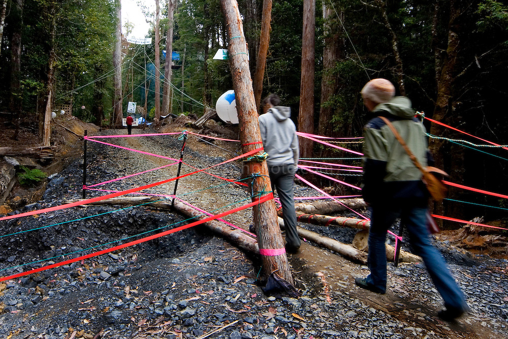 Protestors have blocked the forest access road made by contractors for Forestry Tasmania, in order to stop the logging of old growth forest in what is potentially a World Heritage Area. Here you can see where they've narrowed the access road to stop vehicles entering.