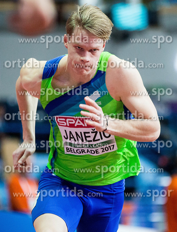 Luka Janezic of Slovenia competes in the Men's 400 metres heats on day one of the 2017 European Athletics Indoor Championships at the Kombank Arena on March 3, 2017 in Belgrade, Serbia. Photo by Vid Ponikvar / Sportida