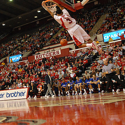 Jan 31, 2009; Piscataway, NJ, USA; Rutgers guard Mike Rosario (3) dunks a basket during the first half of Rutgers' 75-56 victory over DePaul in NCAA college basketball at the Louis Brown Athletic Center