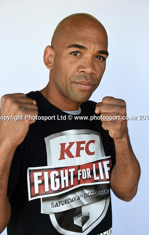 Boxer Robson Assis poses for a picture during a press conference for the KFC Fight For Life by Duco Events. Auckland, New Zealand. Wednesday 3 December 2014. Photo: Andrew Cornaga/www.photosport.co.nz.