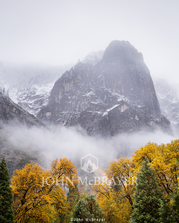 After a long drive in the much needed rain, we made it to camp in the dark.  Upon waking, we emerged from the tent to see the first snow on the mountains surrounding Yosemite Valley.  It was a big repreive from the drought and fires that were plaguing the region.