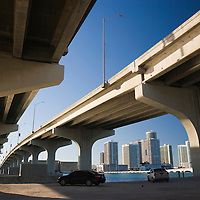 Miami skyline seen from underneath MacArthur Causeway