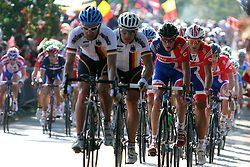 Great Britain and Geman riders in front during the Men's Elite Road Race at the UCI Road World Championships on September 25, 2011 in Copenhagen, Denmark. (Photo by Marjan Kelner / Sportida Photo Agency)