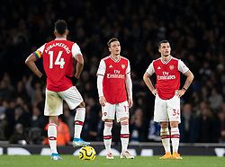 LONDON, ENGLAND - Thursday, December 5, 2019: Arsenal's Mesut Özil and Granit Xhaka (R) looks dejected as Brighton & Hove Albion score a winning second goal during the FA Premier League match between Arsenal FC and Brighton & Hove Albion FC at the Emirates Stadium. Arsenal lost 2-1. (Pic by Vegard Grott/Propaganda)