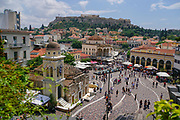 Monastiraki Square, Athens, Greece. The Monastery can be seen on the left and Acropolis hill in the background