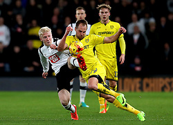 Will Hughes of Derby County tackles Luke Varney of Burton Albion - Mandatory by-line: Robbie Stephenson/JMP - 21/02/2017 - FOOTBALL - iPro Stadium - Derby, England - Derby County v Burton Albion - Sky Bet Championship
