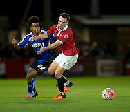 Rai Simons of Chesterfield (left) competes for the ball with Sam Sheridan of FC United of Manchester during the FA Cup match at Broadhurst Park, Moston<br /> Picture by Russell Hart/Focus Images Ltd 07791 688 420<br /> 09/11/2015