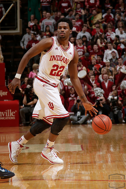 12 February 2014: Indiana Guard Stanford Robinson (22) as the Indiana Hoosiers played Penn State in a college basketball game in Bloomington, Ind.
