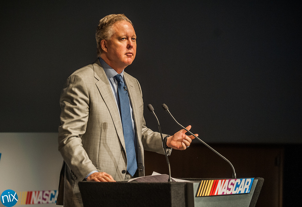 Brian France, CEO and Chairman of NASCAR, speaks during the Charlotte Motor Speedway Media Tour presented by Technocom at the NASCAR Hall of Fame in Charlotte Tuesday morning.
