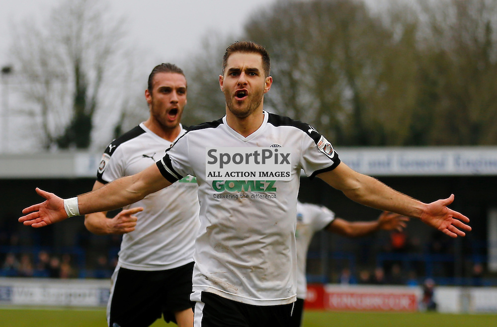 Dover's midfielder Nick Deverdics (17) celebrates putting Dover a goal up in the second half. Dover Athletic v Cheltenham. Vanarama National League. 24th  January 2016. (c) Matt Bristow | SportPix.org.uk
