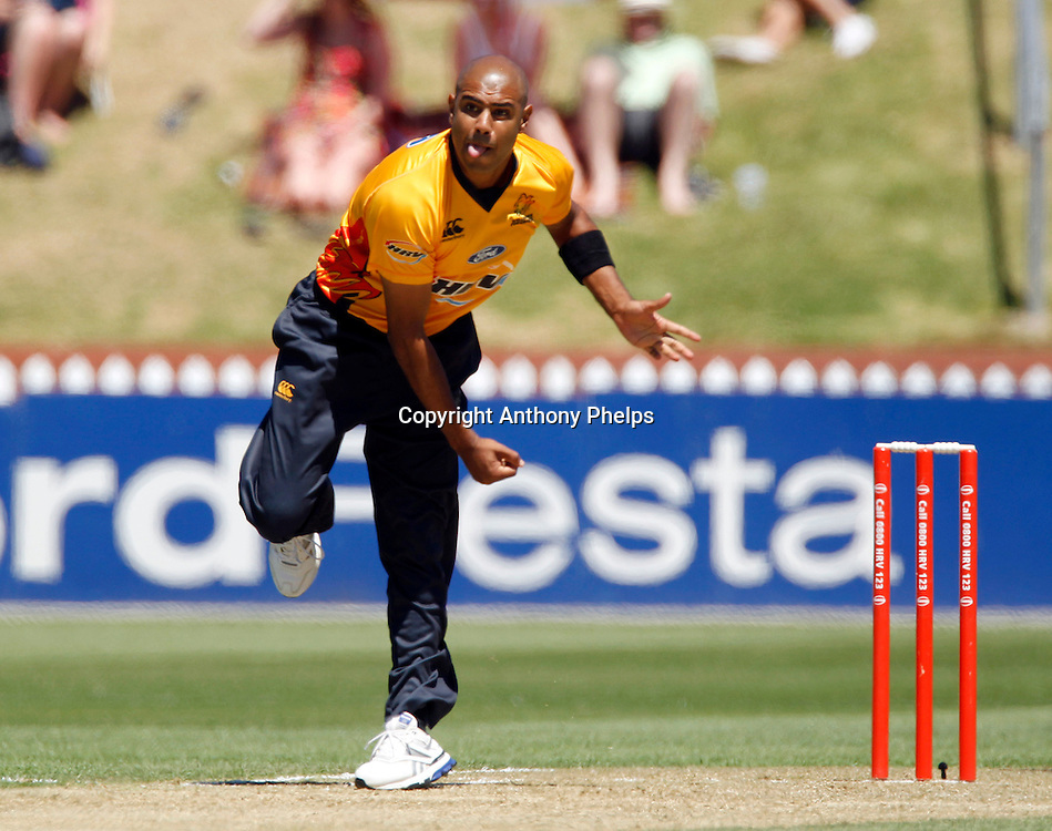 Firebirds Jeetan Patel bowling during the Twenty20 Cricket - HRV Cup, Firebirds v Volts at the Basin Reserve, Wellington, 04 December 2010. Photo: Anthony Phelps/PHOTOSPORT