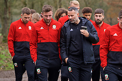 CARDIFF, WALES - Friday, November 16, 2018: Wales' Paul Dummett and manager Ryan Giggs during a pre-match walk at the Vale Resort ahead of the UEFA Nations League Group Stage League B Group 4 match between Wales and Denmark. (Pic by David Rawcliffe/Propaganda)