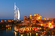 Mina A'Salam and Burj Al Arab Hotel, Madinat Jumeirah, Jumeirah Beach, Dubai, United Arab Emirates, UAE, Arabian Peninsula