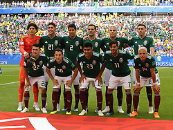 July 2, 2018 - Samara, Russia - July 2, 2018, Russia, Samara, FIFA World Cup 2018, 1/8 finals. Football match of Brazil - Mexico at the stadium Samara - Arena. Players of the national team Mexico (Credit Image: © Russian Look via ZUMA Wire)