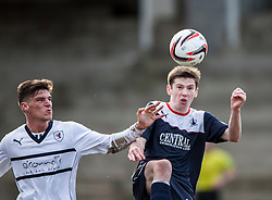 Raith Rovers Ross Callachan and Falkirk's Conor McGrandles.<br /> Raith Rovers 2 v 4 Falkirk, Scottish Championship game today at Starks Park.<br /> &copy; Michael Schofield.