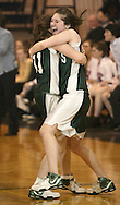 Cornwall's Lexie Thayer, right, celebrates with teammate Kelly Whalen after their team defeated Pearl River 46-39 in a Class A state tournament game at Pace University in Pleasantville on March 7, 2008.