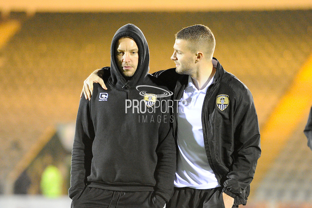 Alan Smith (4) of Notts County and Carl Dickinson (3) of Notts County on the Home Park pitch on arrival for the EFL Sky Bet League 2 match between Plymouth Argyle and Notts County at Home Park, Plymouth, England on 28 February 2017. Photo by Graham Hunt.