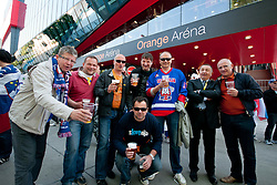 Fans of Slovenia prior to the ice-hockey match between Austria and Slovenia of Group G in Relegation Round of IIHF 2011 World Championship Slovakia, on May 7, 2011 in Orange Arena, Bratislava, Slovakia (Photo by Matic Klansek Velej / Sportida)