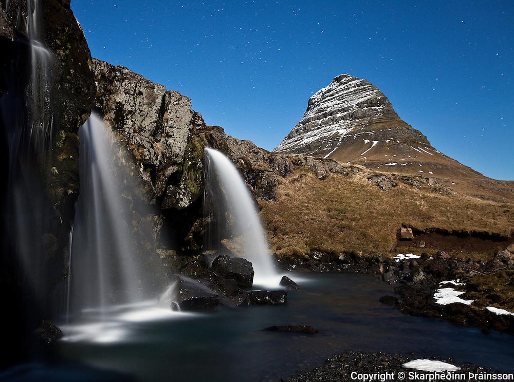 Kirkjufell & Kirkjufellsfoss under a full moon, Snæfellsnes, west Iceland
