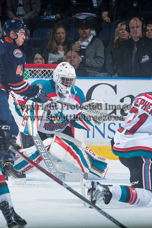KELOWNA, CANADA - MARCH 25: Michael Herringer #30 of the Kelowna Rockets defends the net against the Kamloops Blazers on March 25, 2017 at Prospera Place in Kelowna, British Columbia, Canada.  (Photo by Marissa Baecker/Shoot the Breeze)  *** Local Caption ***