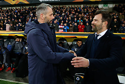 February 14, 2019 - Brugge, BELGIUM - Salzburg's head coach Marco Rose and Club Brugge's head coach Ivan Leko pictured at the start of a soccer game between Belgian team Club Brugge KV and Austrian club FC Red Bull Salzburg, the first leg of the 1/16 finals (round of 32) in the Europa League competition, Thursday 14 February 2019 in Brugge. BELGA PHOTO BRUNO FAHY (Credit Image: © Bruno Fahy/Belga via ZUMA Press)