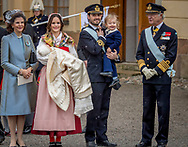 Prince Daniel, Duke of Vastergotland, Princess Estelle, Duchess of Ostergotland, Victoria, Crown Princess of Sweden and Prince Oscar, Duke of Skane leave the chapel after the christening of Prince Gabriel of Sweden after the christening of Prince Gabriel of Sweden at Drottningholm Palace  ROBIN UTRECHT