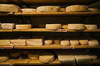 GARGNANO, ITALY - 19 APRIL 2018: Home-made cheeses are seen here in a cellar at Bignotti, a deli that sells a vast of local products and take-away meals,  in Gargnano, Italy, on April 19th 2018.<br /> <br /> Lake Garda is the largest lake in Italy. It is a popular holiday location located in northern Italy, about halfway between Brescia and Verona, and between Venice and Milan on the edge of the Dolomites. The lake and its shoreline are divided between the provinces of Verona (to the south-east), Brescia (south-west), and Trentino (north).
