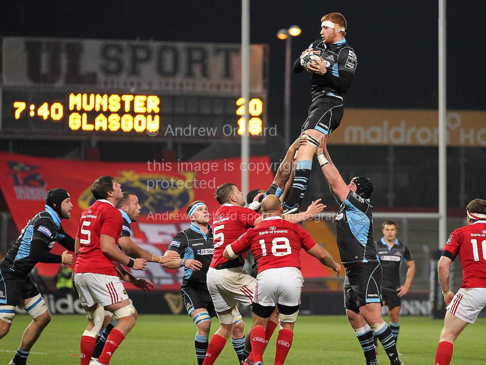 Rob Harley of Glasgow wins the ball at the line out.<br /> Guinness Pro12 rugby match, Munster v Glasgow Warriors at Thomond Park in Limerick, Ireland on Friday 2nd October 2015.<br /> pic by John Halas, Andrew Orchard sports photography.