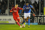 Luke Norris (33) of Swindon Town battles for possession with Reda Johnson (27) of Eastleigh during the The FA Cup match between Eastleigh and Swindon Town at Arena Stadium, Eastleigh, United Kingdom on 4 November 2016. Photo by Graham Hunt.