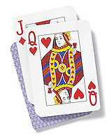 Queen and jack playing cards on white background