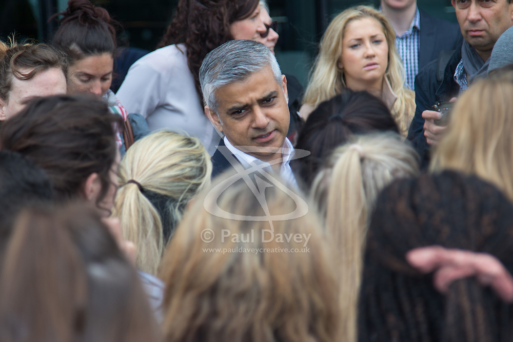City Hall, London, May 19th 2016. PICTURED: Mayor of London Sadiq Khan chats with the dancers.<br /> <br /> The Mayor of London Sadiq Khan joins internationally-celebrated choreographer Akram Khan and Londoners from across the capital as they do their warm-ups at City Hall for the international Big Dance Pledge.<br />  <br /> The preview of the performance ahead of the world-wide Big Dance event. On Friday 20 May, over 40,000 people in 43 countries around the world will take part in the dance, which has been specially choreographed by Akram Khan.
