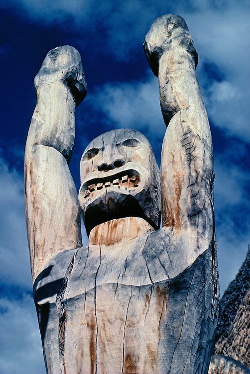 "Carved wooden Ki'i (""tiki"") at Ahu Ena Heiau; Kailua-Kona, Island of Hawaii.."