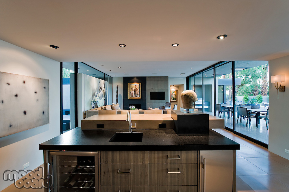 Modern kitchen with view of patio