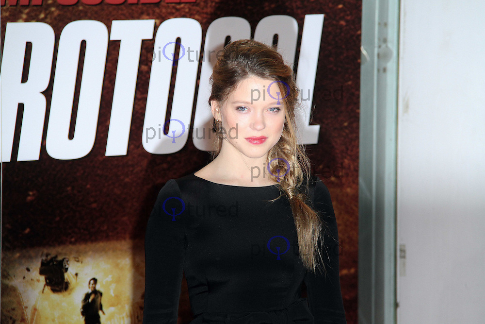 """LONDON - DECEMBER 13   Lea Seydoux attends the UK Premiere of  """"Mission: Impossible Ghost Protocol"""" at the BFI IMAX Cinema, London, UK on December 13, 2011. (Photo by Richard Goldschmidt)"""
