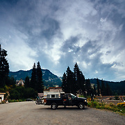 Packing up a Dodge pickup after riding at Steven's Pass Resort.