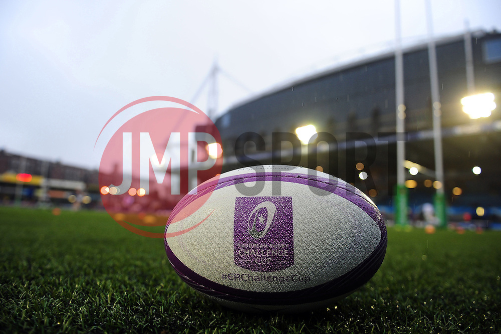 A general view of a European Rugby Challenge Cup branded ball at the Cardiff Arms Park - Mandatory byline: Patrick Khachfe/JMP - 07966 386802 - 10/12/2016 - RUGBY UNION - Cardiff Arms Park - Cardiff, Wales - Cardiff Blues v Bath Rugby - European Rugby Challenge Cup.
